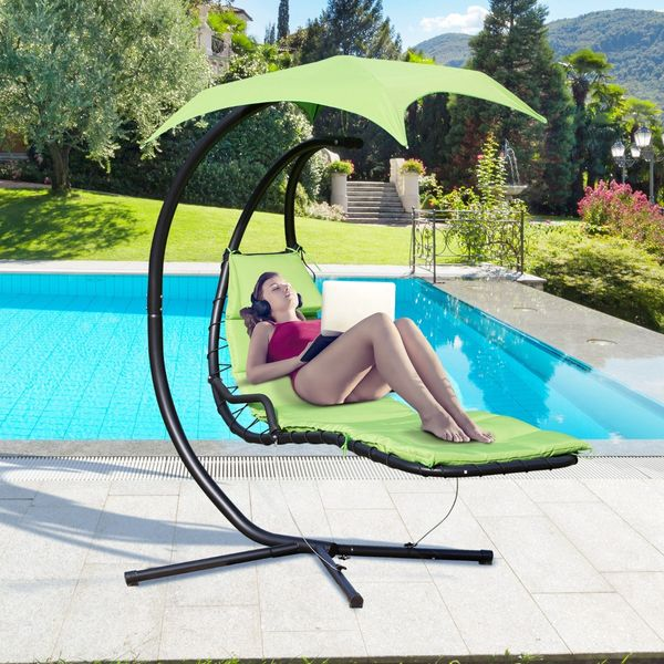 Outsunny Floating Chaise Lounge Arc Stand Canopy Umbrella AOSOM.CA