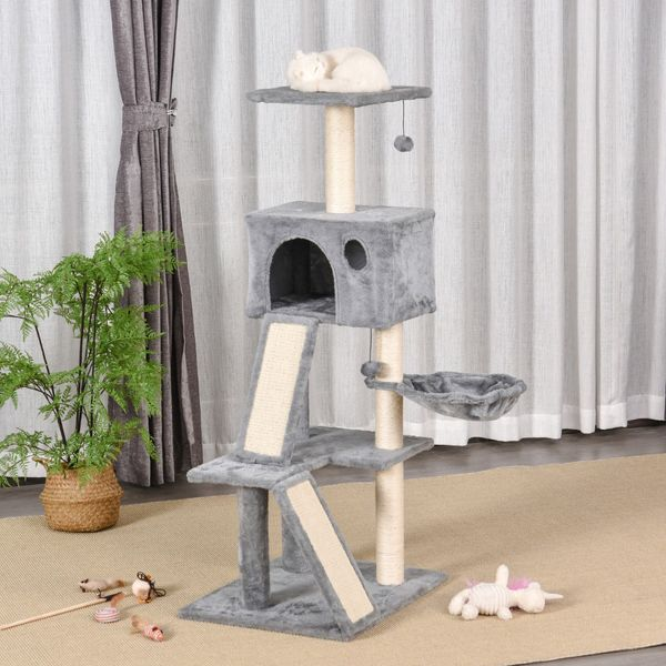 """PawHut 51"""" Cat Tree Activity Tower with Condo Scratching Posts Ladders and Two Toys for Kitty Pet Climbing Relaxing and Playing Sisal-Covered   Aosom Canada"""