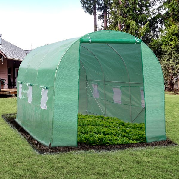 Outsunny Walk-in Dome Greenhouse 15' x6.7' x 6.7' Garden Plant Steel Frame Warm House with Tunnel Green   Aosom Canada