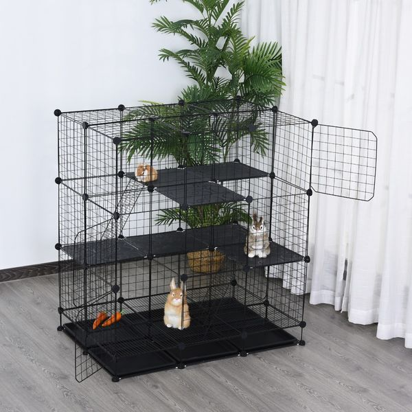 PawHut DIY Pet Playpen Cage for Kitten Bunny Chinchilla Small Animals with Trays Steel