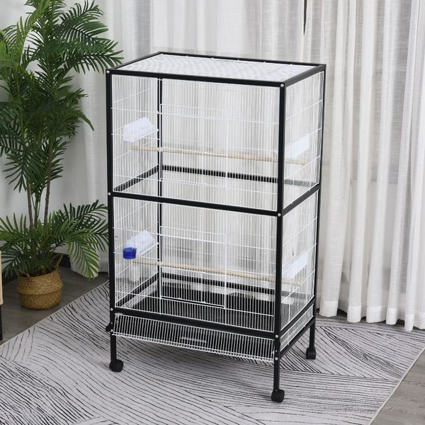 "PawHut Flight Cage 54""H Bird Cage Parrot Macaw Finch Cockatoo Flight with Wheels 30x20.5x54-Inch Large Feeding Tray Stand Black/White 