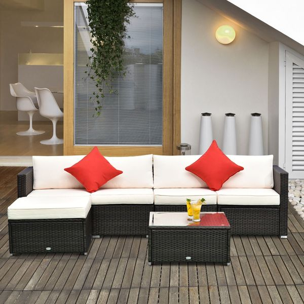 Outsunny 6pc Patio Rattan Wicker Set Outdoor Sectional Furniture w/Cushion