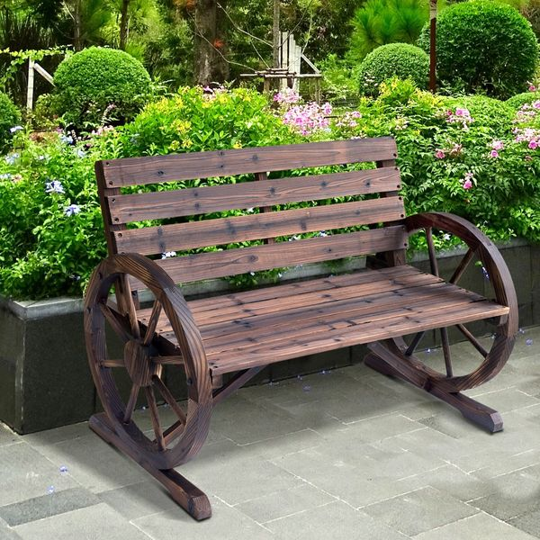 """Outsunny 42"""" Wood Wagon Wheel Bench Relaxing Lounge Chair