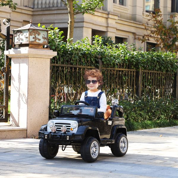 Aosom 12V Power Wheels Jeep Electric Cars Ride On Toy Truck With Remote Control For 3-6 Years Old Kids 2 Speeds Lights Mp3 Lcd Indicator Black | Aosom Canada