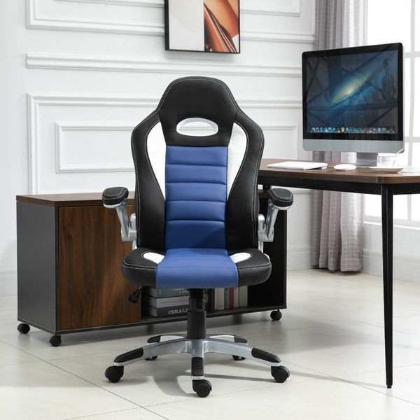 HOMCOM Racing Car Office Chair Swivel Excutive Computer Gaming Chair with Adjustable Armrest (Blue)