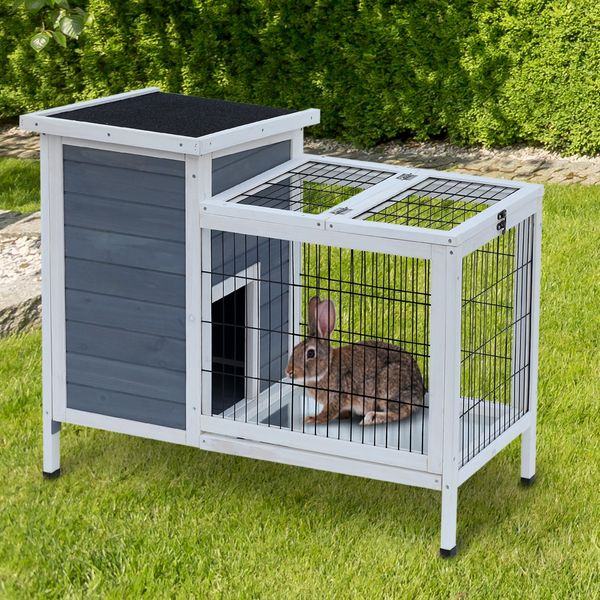 """PawHut 36""""x22""""x30"""" Wooden Outdoor Small Rabbit Hutch Elevated Bunny Cage with Run Animal House Grey/White"""