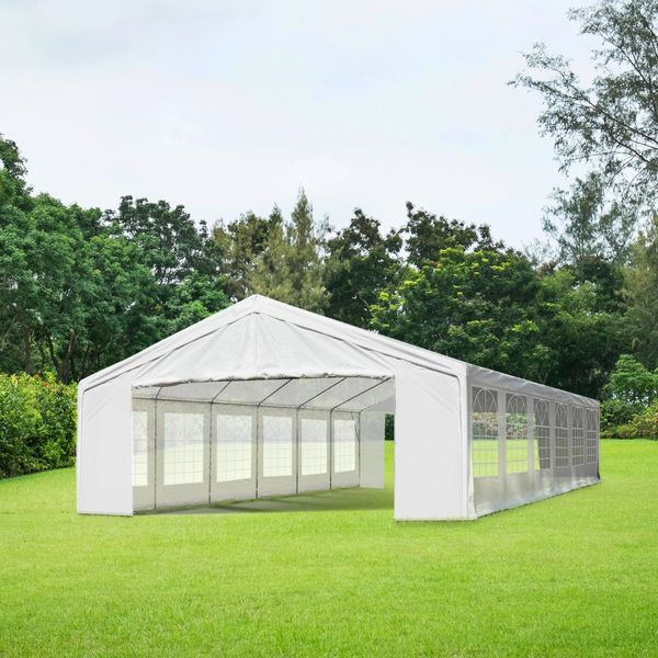 Outsunny Canopy Tent 40'x20' Heavy-duty Large Outdoor Carport Garage Wedding Party Event Patio Gazebo with Removable Sidewall White |Aosom Canada