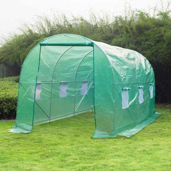 Outsunny Walk-in Dome Greenhouse 15' x6.7' x 6.7' Garden Plant Steel Frame Warm House with Tunnel Green | Aosom Canada