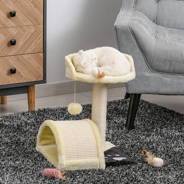 """PawHut 17"""" Cat Scratching Tree Kitty House Kitten Activity Centre Pet Bed Post Furniture with Hanging Toy (Beige)"""