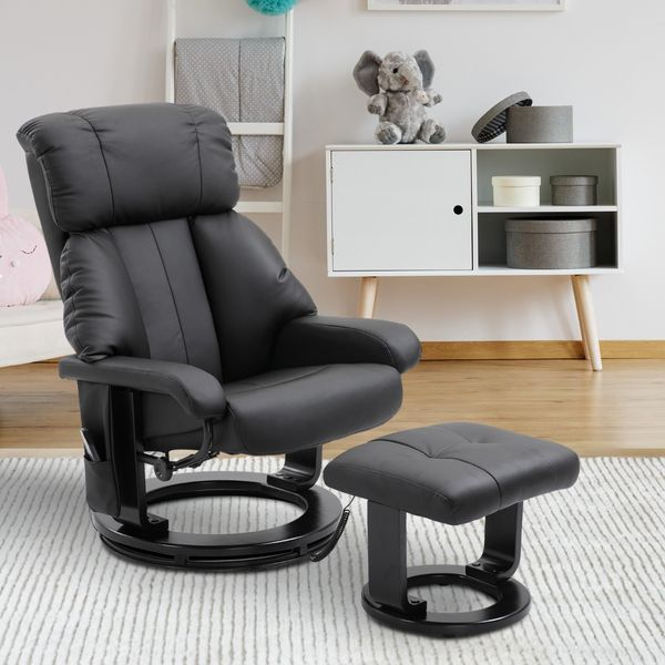 HOMCOM Massage Recliner Ottoman Set Electronic Heated Reclining Chair with Footrest 10 Vibration Motor and Swivel Wood Base Black | Aosom Canada