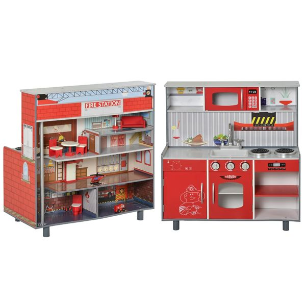 Qaba Kids Kitchen Set 2 in 1 Multifuction Kitchen Set Doll House Large Play Kitchen with Realistic Function Pretend Cooking Set Toy for Girls Boys Red Multifunction | Aosom Canada