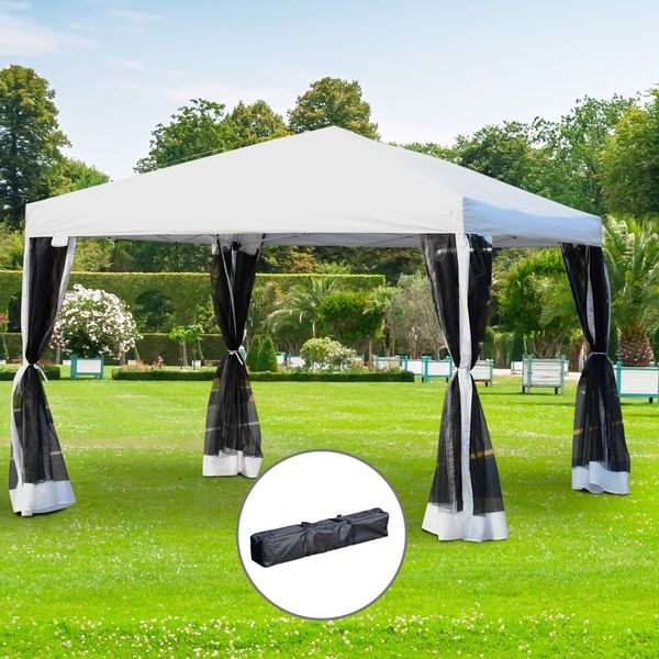 Outsunny 10x10ft Pop Up Wedding Party Tent Gazebo Canopy with Removable Mesh Curtains and Carry Bag, White Aosom.ca