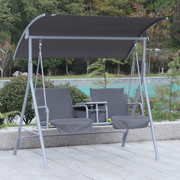 Outsunny 2 Person Swing Chair with Pivot Table & Storage Console