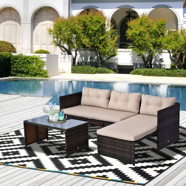 Outsunny 3pcs Rattan Wicker Patio Furniture Set Sofa Chaise Longue Table Outdoor Lounge with Cushion Brown Beige  Aosom Canada