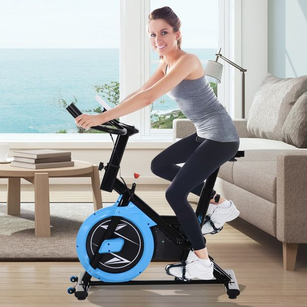 Soozier Upright Stationary Exercise Bike Belt Drive Home Gym Indoor Cycling with LCD Monitor