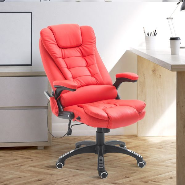 HOMCOM Executive Ergonomic Heated Vibrating Massage Office Chair Faux Leather Adjustable Swivel High Back Heater w/ Remote Control Red | Aosom Canada