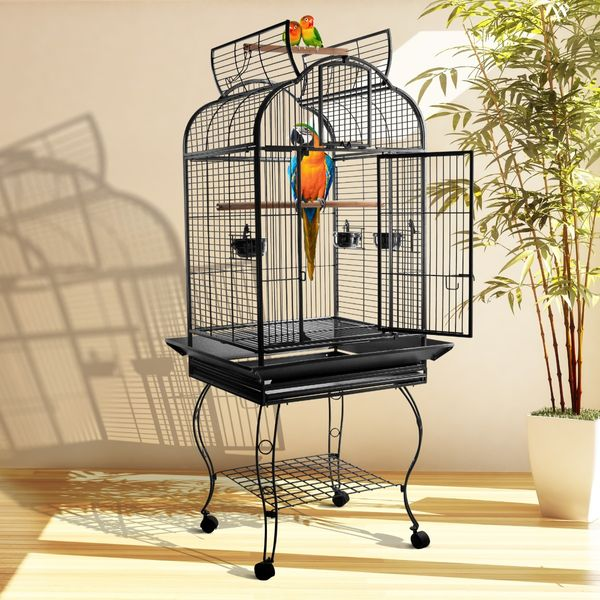 PawHut 63-inch Large Bird Parrot Cage Rolling Cockatiel Finch Macaw Aviary Cage Open Play Top with 2 Perch 3 Stainless Steel Cup Pet Furniture | Aosom Canada
