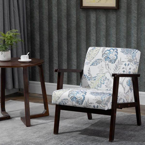 HOMCOM Mid Century Modern Accent Chair, Retro Fabric Armchair, Wooden Arm Upholstered Linen Lounge Chair for Living Room
