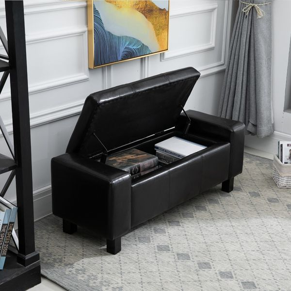 """HOMCOM 833-200BK 42"""" Deluxe Faux Leather Padded Storage Ottoman Bench Foot Stool Seat Chair with Organizer Black 