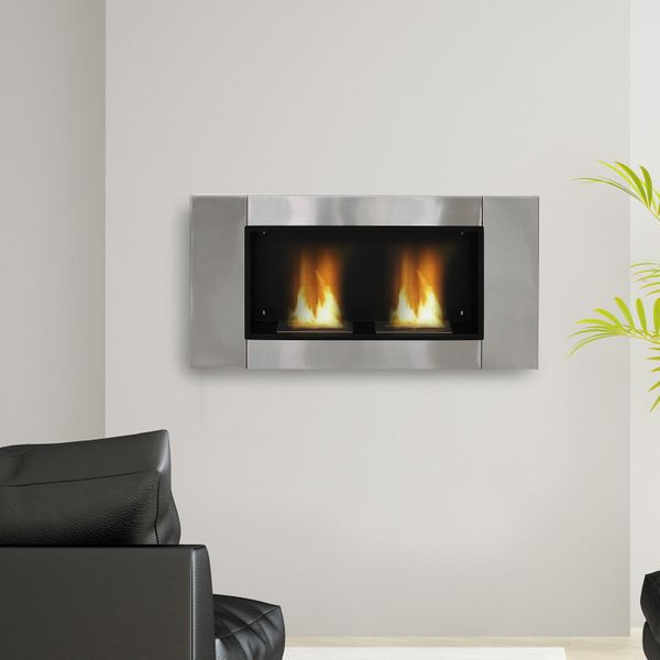 HOMCOM Ventless Bio Ethanol Fireplace Recessed Wall Mounted Heater|Aosom.ca