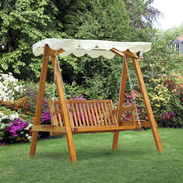 Outsunny Wooden Lowes Patio Swing Chair Outdoor Patio Furniture Waterproof Canopy 2 Person / Seater Hammock Heavy-Duty Garden|Aosom Canada