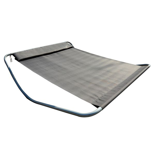 Outsunny Rocking Sun Lounger Double Hammock Bed with Steel Stand for Garden beach and pool Headrest Grey | Aosom Canada