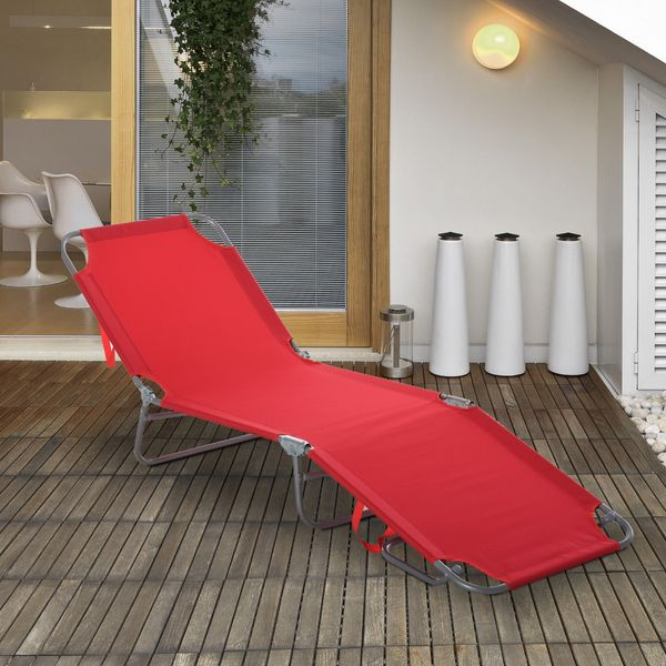 Outsunny Folding Portable Beach Lounger Outdoor Reclining Chair Patio Garden Sun Lounge Bed Camping Cot Red