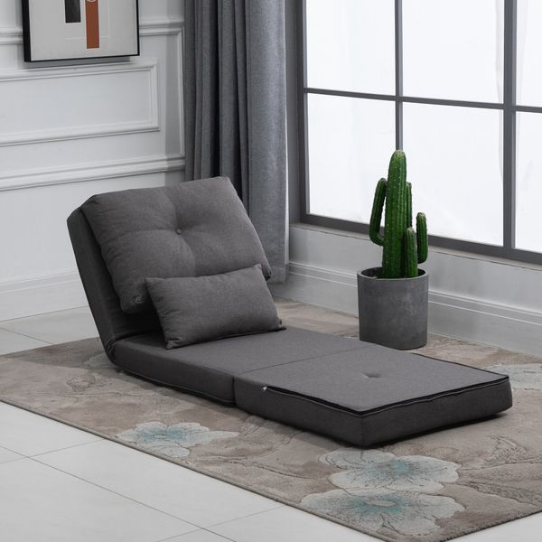 HOMCOM 2-In-1 Design Modern Style Floor Lazy Sofa with 7 Position Adjustable Backrest Thick Padding Metal Frame and 2 Pillows | Aosom Canada