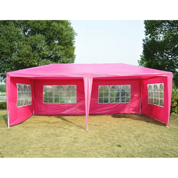 Outsunny 10' x 20' Wedding Party Tent Outdoor Patio Garden Event Camping Gazebo Canopy with 4 Removable Sidewalls Pink|Aosom Canada