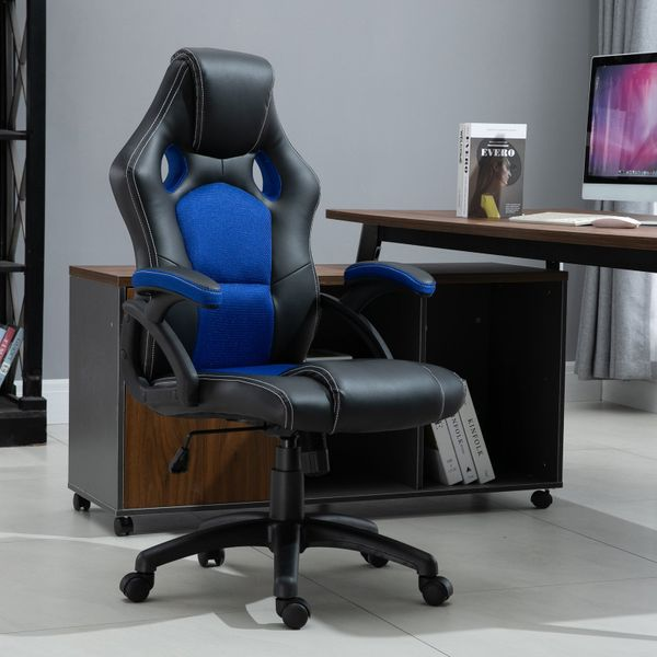 HomCom Race Car Style PU Leather Heated Massaging Office Chair Blue | Aosom Canada