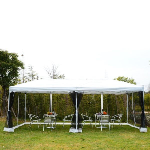 Outsunny 10x20ft Pop Up Party Tent Gazebo Wedding Canopy with 6 Removable Mesh Sidewalls Carry Bag, White|Aosom.ca