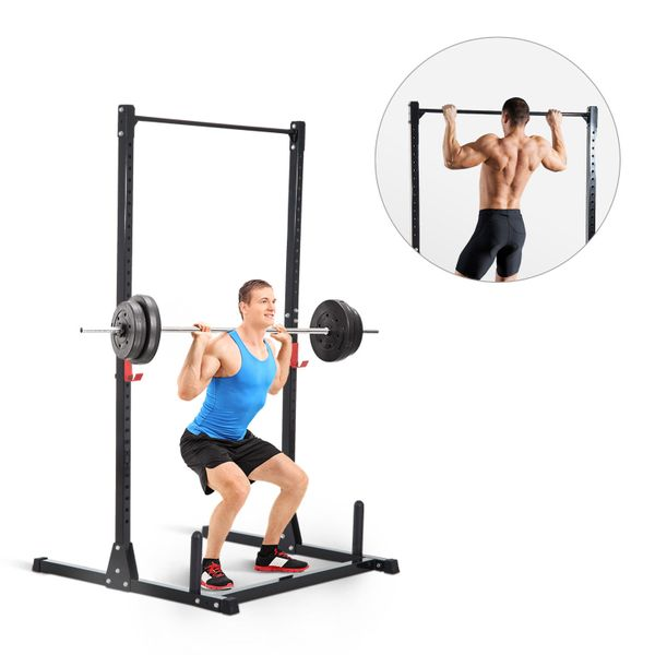 Soozier Adjustable Power Squat Rack Home Exercise Barbell Fitness Cage Strength Training Pull Up Weight Gym Steel Lifting Stand Black|Aosom Canada