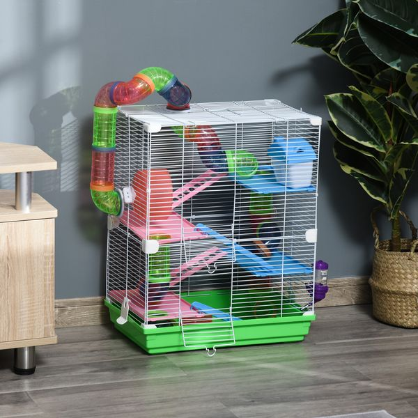 PawHut 5 Tiers Hamster Cage Portable Animal Travel Carrier Habitat with Exercise Wheels Play Tube Water Bottle Dishes House Ladder for Mice Gerbils Green w/   Aosom Canada