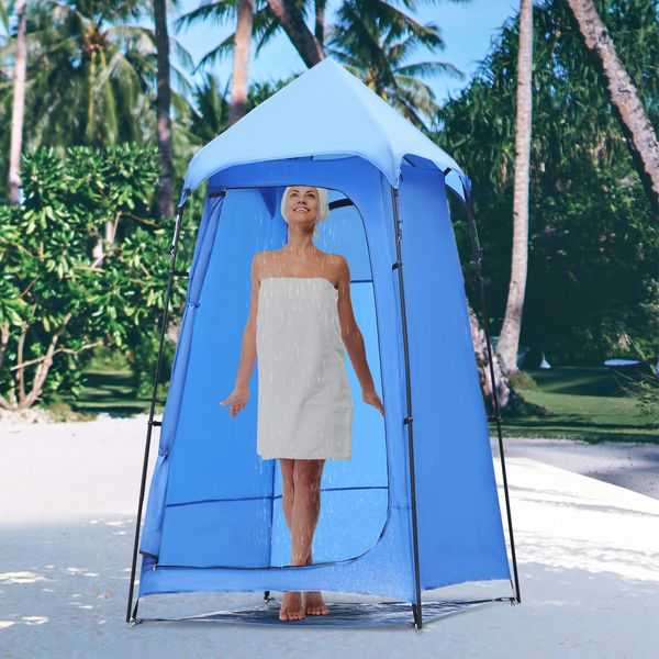 Outsunny Portable Camping Shower Tent Privacy Bathing Shelter Travel Changing Room Beach Toilet w/ Carry Bag