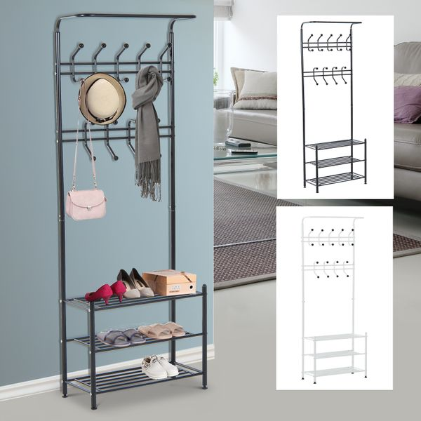 Heavy Duty Coat Shoe Rack 18 Hooks 3-Tier Shoe Rack w/ Hanging Bar | Aosom Canada