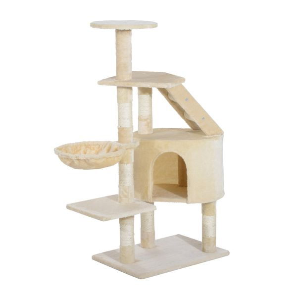 "PawHut 49"" Deluxe Cat Tree Furniture Scratching Pet Tower Kitten Play Post House Condo Activity Center Creamy White 