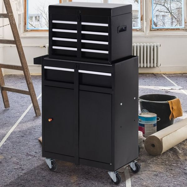 DURHAND 2 in 1 Top Chest Rolling Tool Storage Box Cabinet 4 Drawers with Pegboard  Black