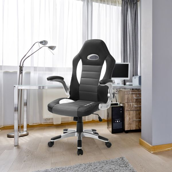 HOMCOM Home Office Chair Swivel Adjustable Computer Gaming Desk Chair PU High Back Excutive Seat with Armrest Grey | Aosom Canada