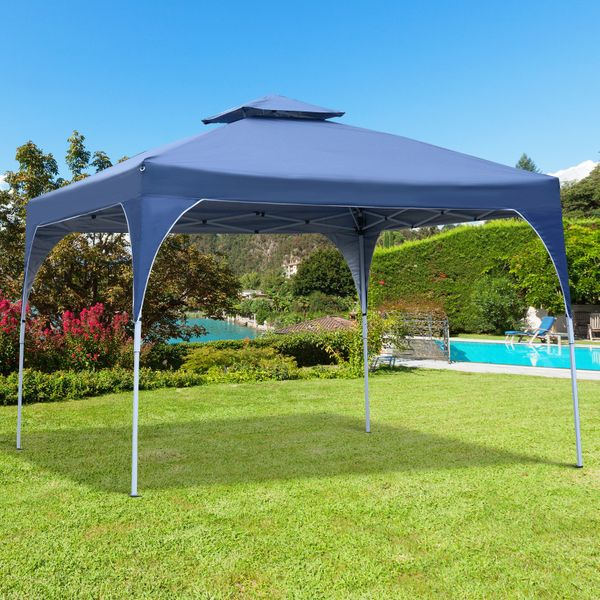 Outsunny OXFORD CLOTH waterproof 10'x10' Easy Pop-Up Canopy Vented Roof w/ Carry Bag Blue | Aosom Canada