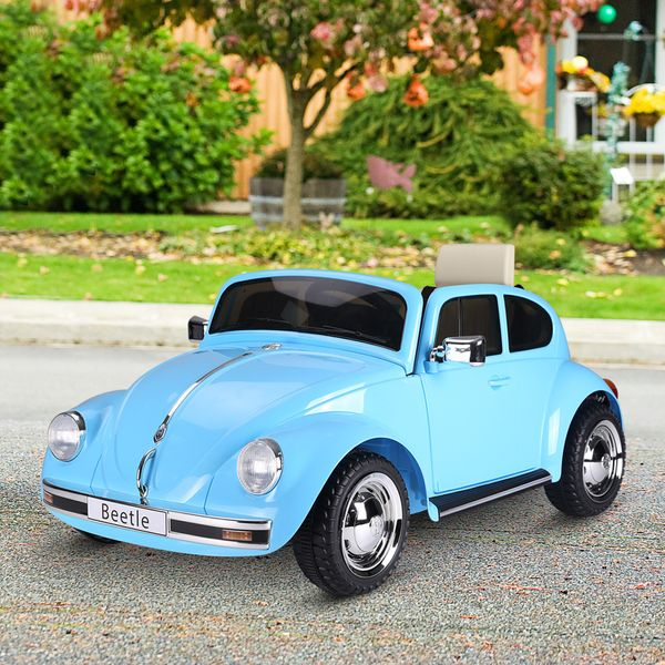 Aosom Licensed Volkswagen Beetle Electric Kids Ride-On Car 6V Battery Powered Toy with Remote Control Music Horn Lights MP3 for 3-8 Years Old Blue | Aosom Canada
