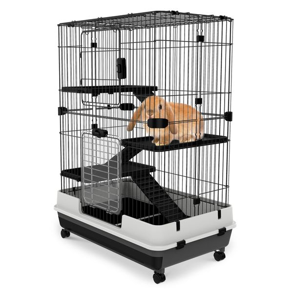 PawHut 3 Tier Rabbit Cage Pull Out Tray with Wheels Indoor Rolling Small Animal Crate Hamster House Ferrets Chinchillas Hutch Pet Furniture w/ Wheel | Aosom Canada