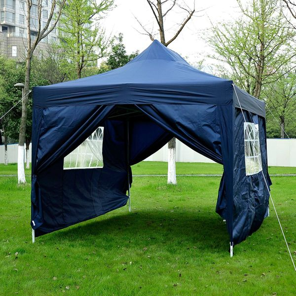 Outsunny 10'x15' Outdoor Pop Up Party Tent Folding Wedding Gazebo Canopy with 4 Removable Sidewalls (Blue)|Aosom.ca