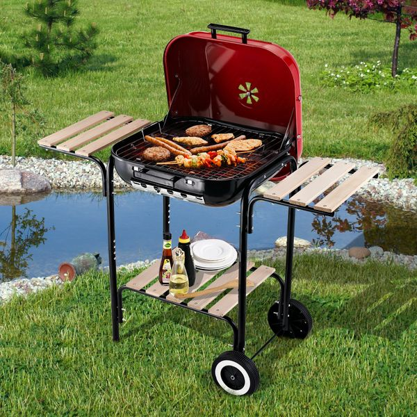 Outsunny Charcoal BBQ Trolley Barbecue Grill Patio Heat Resistant Rolling