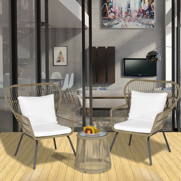 Outsunny 3 Pieces Outdoor Patio Bistro Set  Wicker Rattan Furniture 2 Chairs 1 Coffee Table with Metal Legs for Garden  Backyard  Deck  Coffee and White