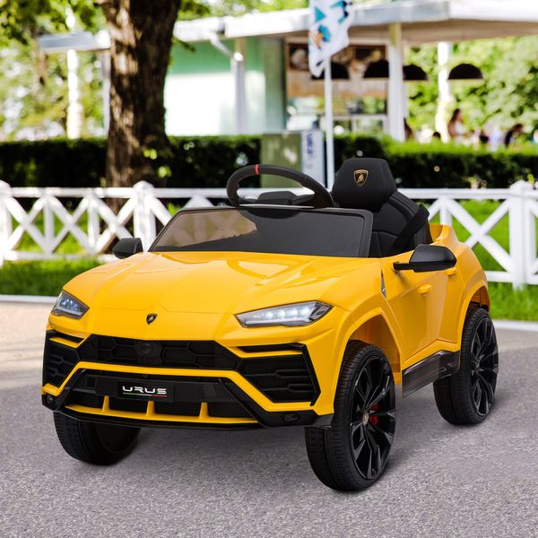 Aosom Compatible 12V Battery-powered Kids Electric Ride On Car Lamborghini Urus Toy with Parental Remote Control Music Lights MP3 Suspension Wheels for 3-6 Years Old Yellow w/ Yrs | Aosom Canada