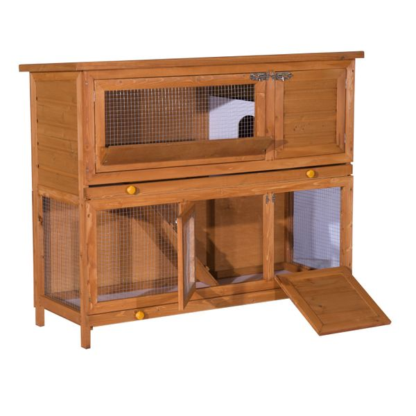 PawHut Bunny Hutch Wood Rabbit Hutch w/ Tray 2 Story Elevated Small Animal Cage Wooden Bunny House Chicken Coop Sliding-Out Poultry House   Aosom Canada