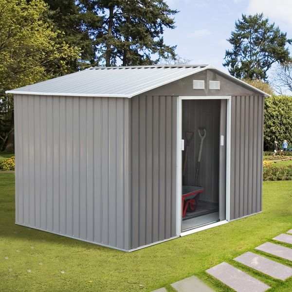 Outsunny Garden Storage Shed w/ Floor Foundation 9'x6.3' Outdoor Patio Yard Metal Tool House Grey and White|Aosom Canada