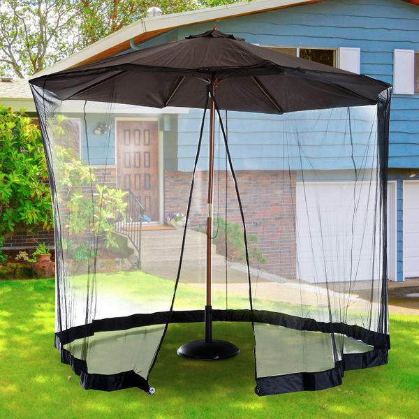 Outsunny 7.5ft Umbrella Table Screen Mosquito Bug Insect Net Outdoor Patio Black | Aosom Canada