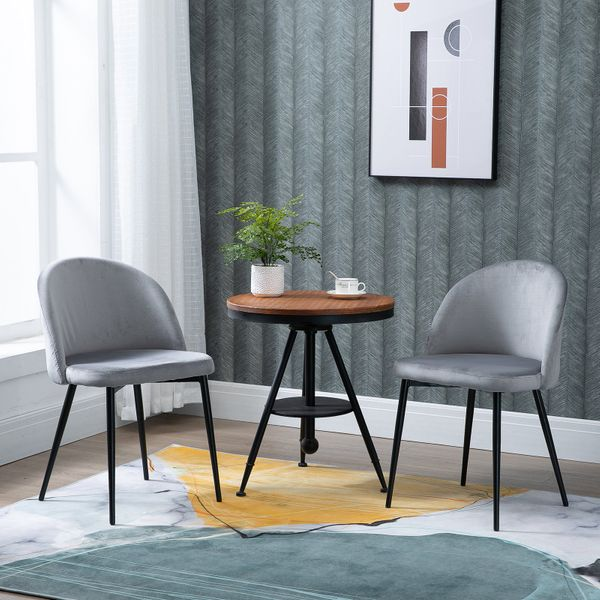 HOMCOM Dining Chairs Set of 2 Contemporary Design for Office Dining Kitchen with Soft Fabric Seat and Back Living Room  Grey Pieces Modern Upholstered Bucket Home   Aosom Canada