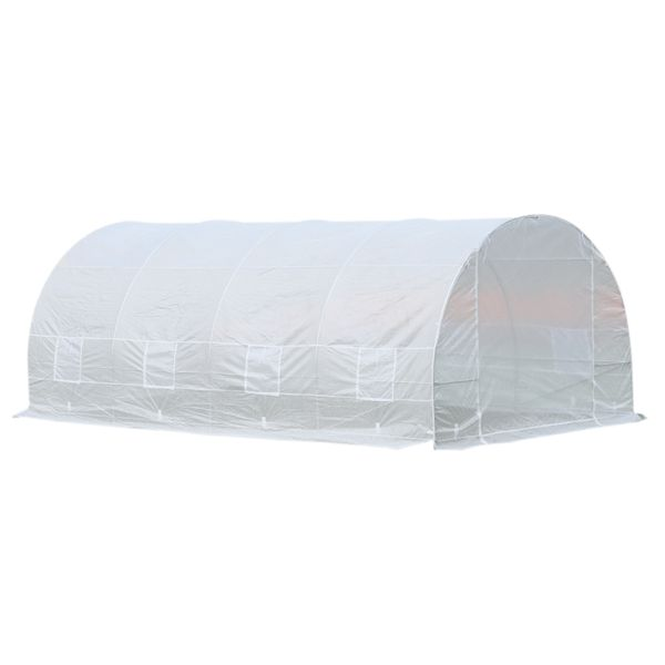 Outsunny 20x10x7ft Heavy Duty Tunnel Walk-in Greenhouse Outdoor Backyard Seed Plant Vegetables Grow Warm House White|Aosom Canada
